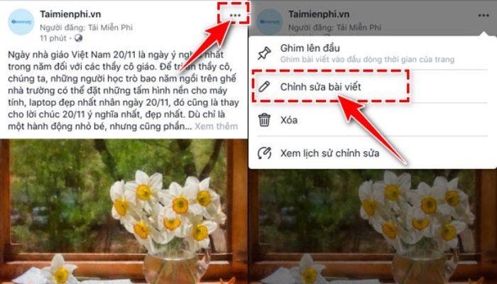 Cách thêm ảnh vào bài đã đăng trên fanpage bằng điện thoại