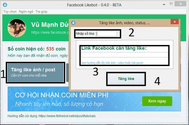 Tool tăng sub Facebook Likebot