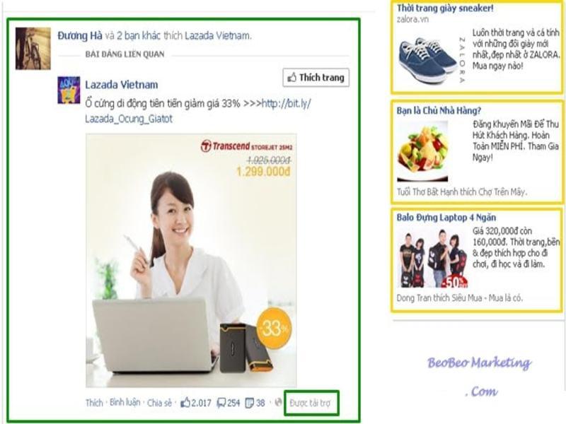Quảng cáo hiển thị ở bản tin và cột bên phải đối với PC, máy tính